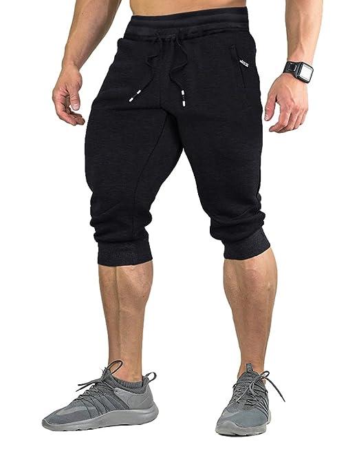 ad527a53e0589 FASKUNOIE - Pantalones cortos de algodón para hombre (3 4