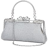 Ali Victory Women Butterfly Crystal Clutch Purse Rhinestone Evening Handbags (Sliver- sty 2)