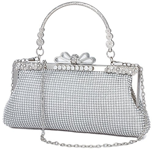 (Clutch Purse for Women Crystal Evening Bags and Clutches Rhinestone Evening Handbags (Silver-B))
