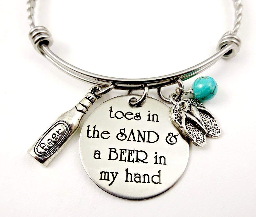 Toes In the Sand Lind of Girl A BEER In My Hand Stamped Beach Bracelet