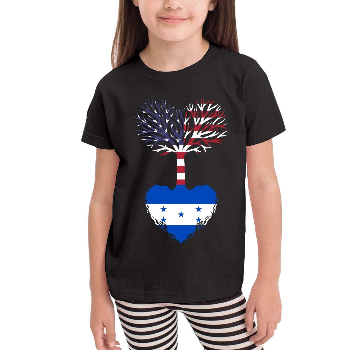CERTONGCXTS Baby Girls Kids American Grown Honduras Root Cute Short Sleeve T-Shirt Size 2-6