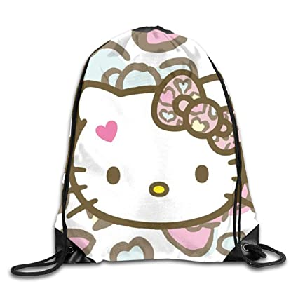 cfce9d79c Image Unavailable. Image not available for. Color: Meirdre Unisex Hello  Kitty Sports Drawstring Backpack Gym Bag
