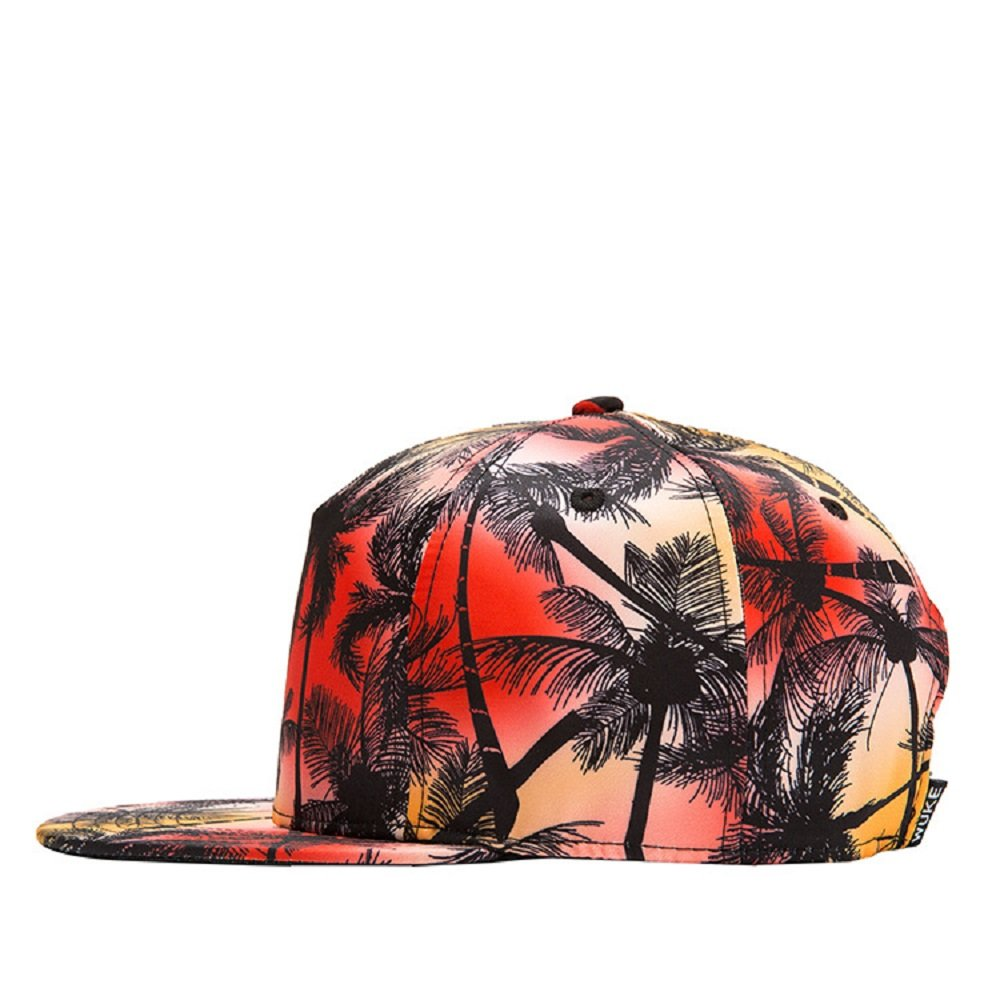 5d031d499fe Amazon.com  Connectyle Vintage Coconut Palm Tree Print Fitted Flat Bill Hats  Fashion Cool Snapback Hip Hop Cap Hat  Clothing