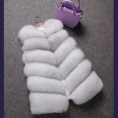 de abrigo piel de piel abrigo Chaqueta FOLOBE de para mujer invierno Blanco de sintética de Tq1Awn5