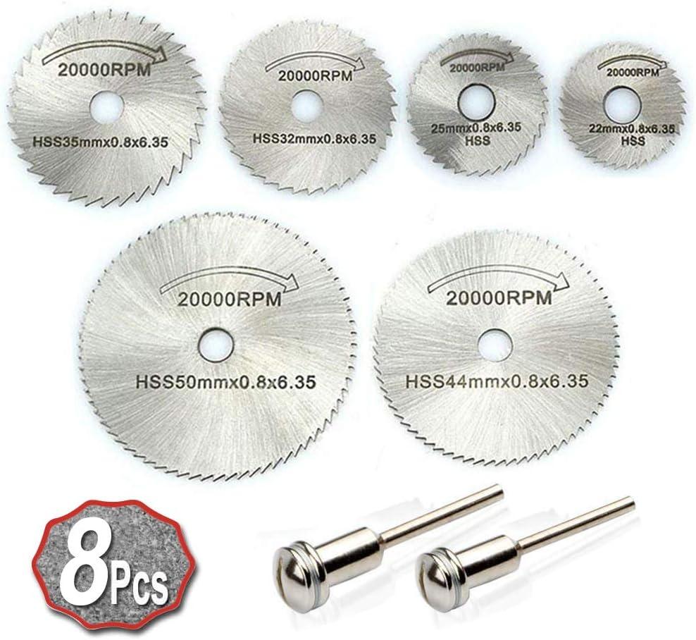 XCOZU 8 piezas HSS accesorios de herramientas rotatorias, mini kit de hoja de sierra circular, 6 piezas de hoja de corte y 2 piezas de barra de extensión, discos de corte para madera de plástico metal