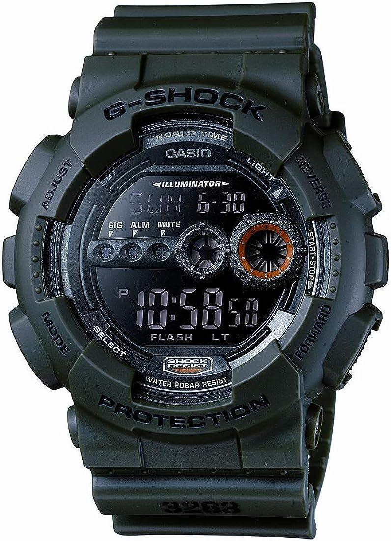 Casio Men s XL Series G-Shock Quartz 200M WR Shock Resistant Resin Color Olive Green Model GD-100MS-3