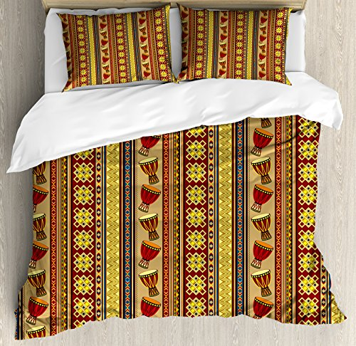 African King Size Duvet Cover Set by Ambesonne, Oriental Djembe Drums Music Culture in Africa Theme Geometric Chevrons Triangles, Decorative 3 Piece Bedding Set with 2 Pillow Shams, Multicolor by Ambesonne