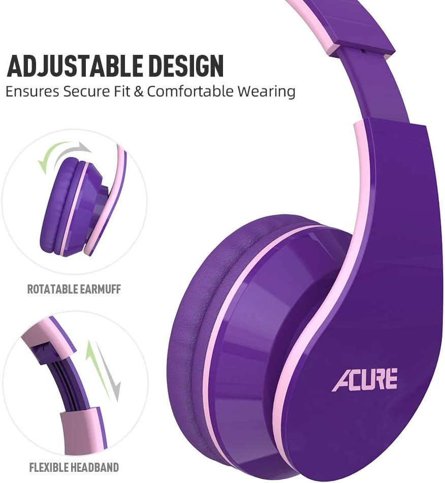 Indigo ACURE AC02 Wired Headphones with Lightweight Over Ear Design for Girls Boys Kids Stereo Foldable Headset Compatible with Laptop Tablet PC Computer