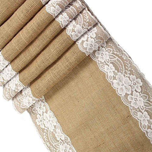 CCTRO Lace Hessian Table Runner ...