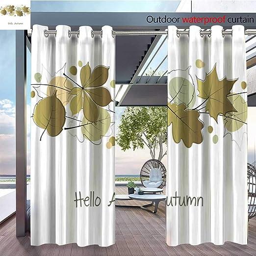 QianHe Cortina de privacidad para Exteriores, para pérgola otoño-caligrafía-Banner.jpg Aislamiento térmico Repelente al Agua Cortina para balcón: Amazon.es: Jardín
