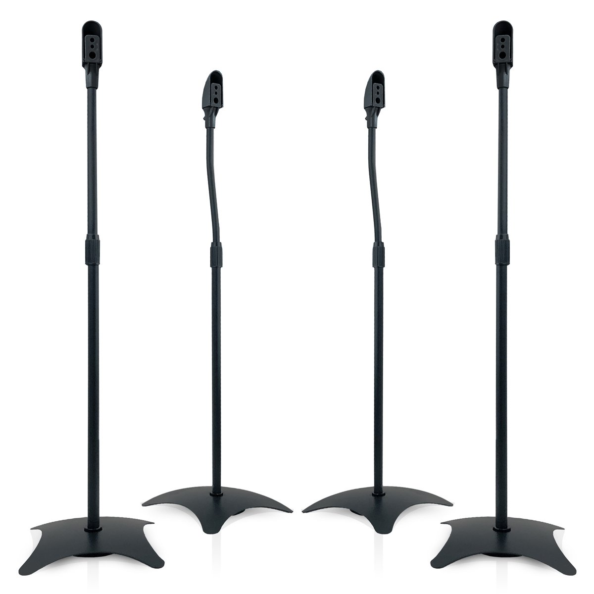 9HORN 5.1 Metal Speaker Stands Kit Height Adjustable (Black, 2 Pairs) by 9HORN