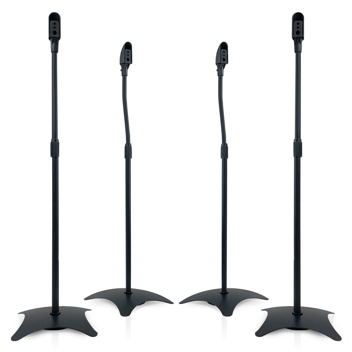 9HORN 5.1 Metal Speaker Stands Kit Height Adjustable (Black, 2 Pairs)