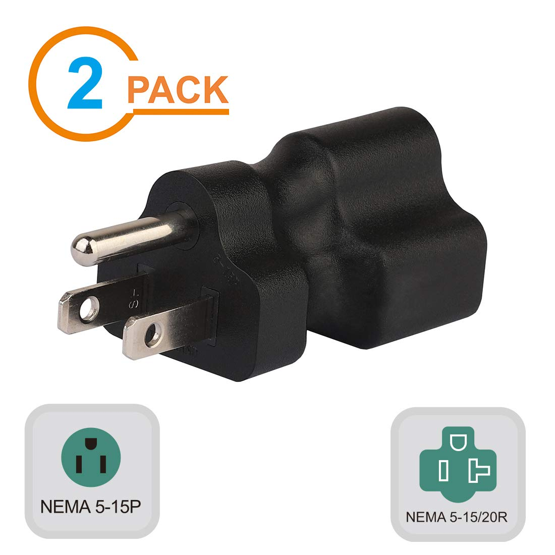 3 3PACK PA-0201-3 Plugrand 15 Amp Household AC Plug to 20 Amp T Blade Power Adapter,15 Amp to 20 Amp Plug Adapter Converter Nema 5-15P to 5-15R//5-20R 20 Amp Comb AC Adapter
