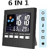 6 IN 1 Thermometer innen digital Thermo-Hygrometer von MOHOO, Hygrometer, komfortable Funk-Wetterstation, Feuchtigkeitsmesser, Temperaturmesser, Wecker, Datumsanzeige, Nachtlichtfunktion, 9.2cm x 9.2cm