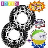 "Intex Inflatable Monster Truck Tire Tubes (45"" Diameter) Twin Set Bundle with Bonus ""Matty's Toy Stop"" 16"" Beach Ball - 2 Pack"