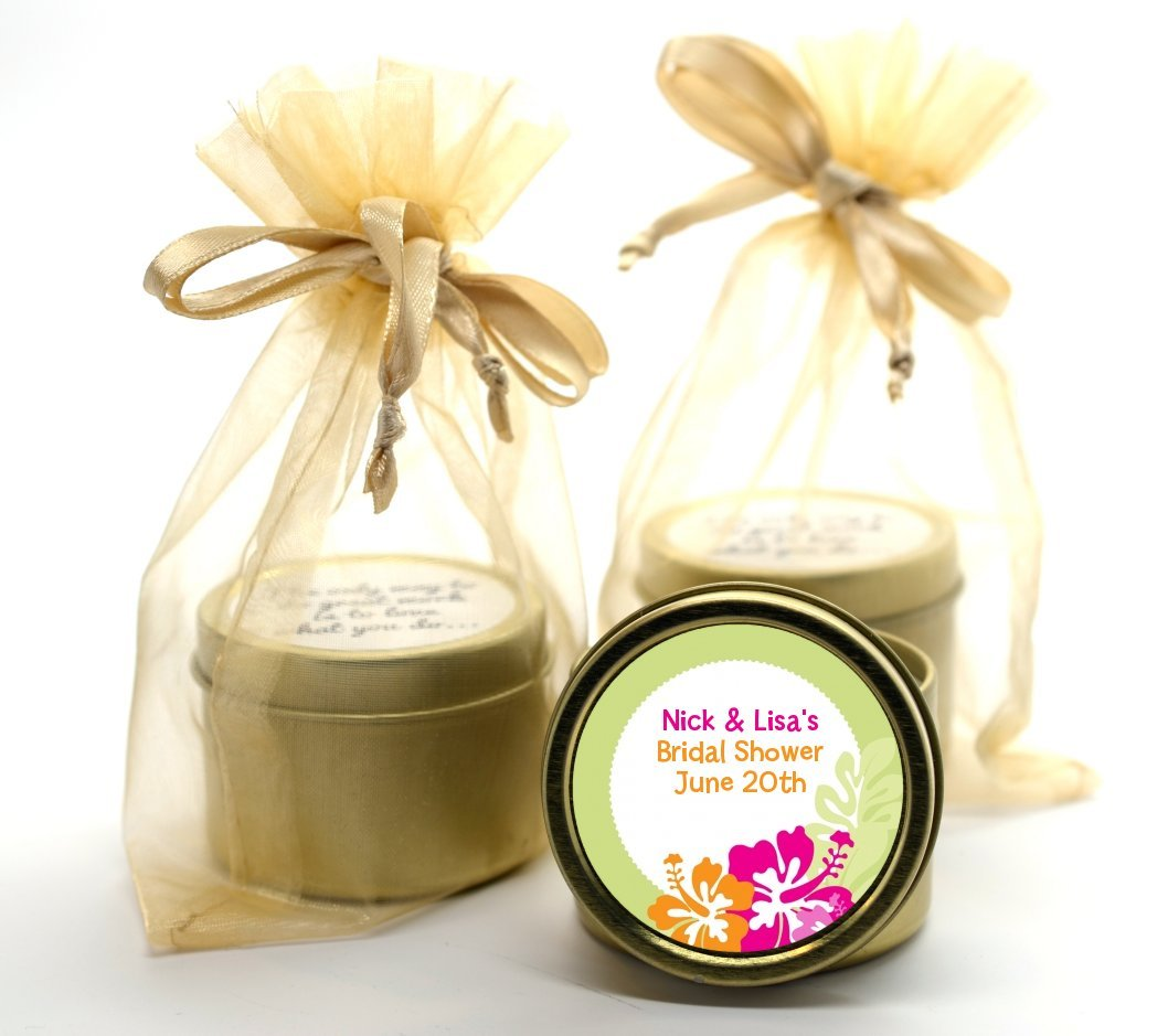 Amazon.com: Hibiscus - Bridal Shower Gold Tin Candle Favors: Health ...