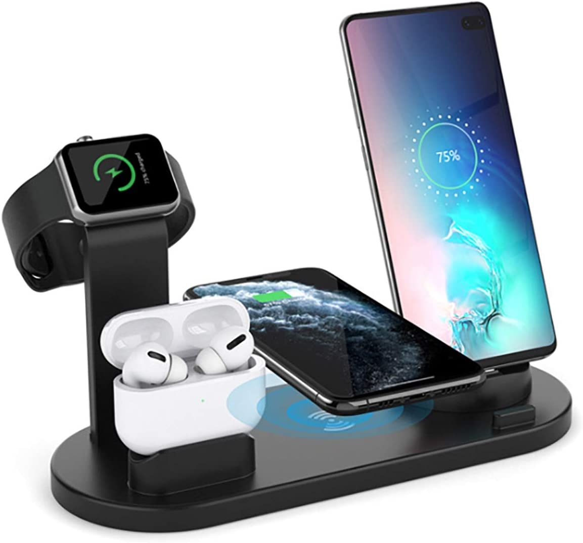 Wireless Charging Dock Station, 6 in 1Qi-Certified Fast 10W Charging, Rotatable Stand-Compatible for iPhone 11/Pro/Xs Max/XS/XR/X/8 Plus, Micro USB/Type-C Phone/,iwatch 1/2/3/4/5, AirPods/AirPods Pro