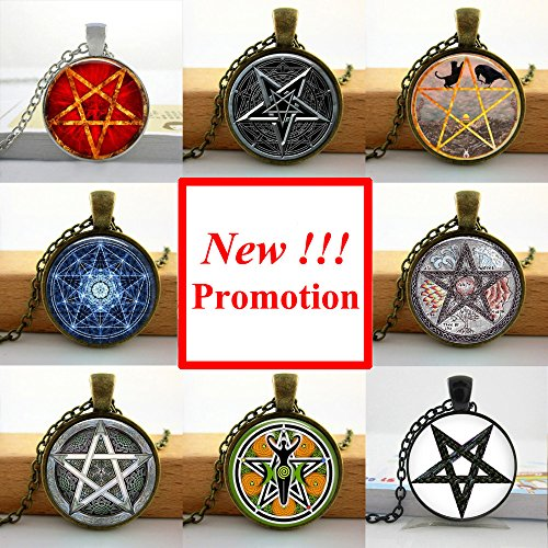 - Pretty Lee Fashion Glass Picture Pendant Pentagram Necklace Wiccan Pendant Occult Jewelry Glass Dome Necklace