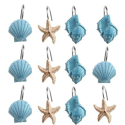 AGPtekR 12 PCS Fashion Decorative Home Bathroom Seashell Shower Curtain Hooks Blue