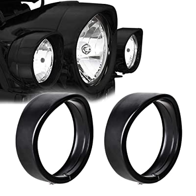 "NTHREEAUTO 4.5"" Fog Light Trim Ring Visor 4 1/2"" LED Passing Lights Black Decorate Rings Motorcycle Auxiliary Lamp Visor Compatible with 1962-later Harley (Black): Automotive"