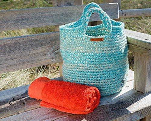 Bolso de playa tipo capazo tejido a crochet con asas cortas verde agua y beige: Amazon.es: Handmade