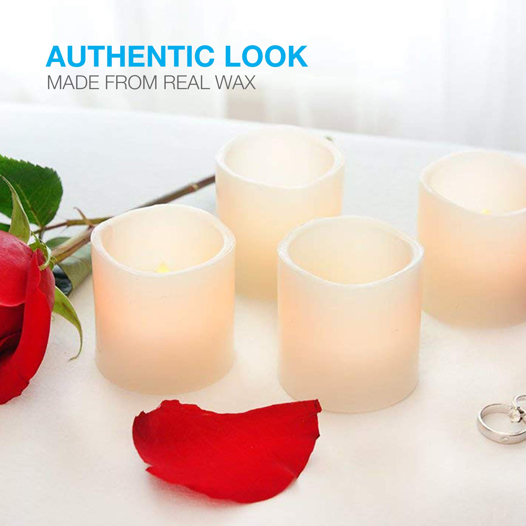 Vont Flameless LED Candles, Flickering, Battery Powered, Real Wax, Realistic Decor Unscented, 6 Pack, Yellow Light by Vont (Image #3)
