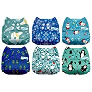 Mama Koala One Size Baby Washable Reusable Pocket Cloth Diapers, 6 Pack with 6 One Size Microfiber Inserts (Chill Out)