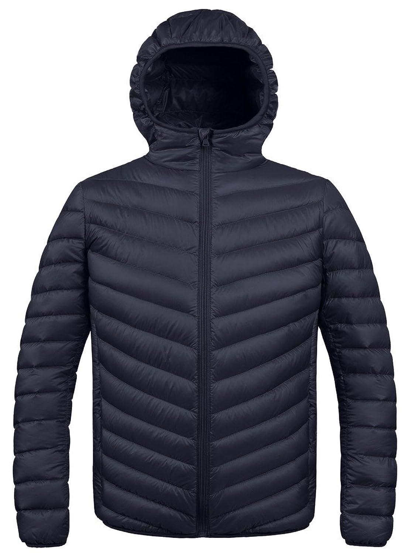 ZSHOW Men's Winter Hooded Packable Down Jacket Black ...