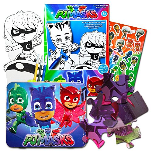 PJ Masks Lunch Box Set -- Deluxe Tin Lunch Box, Play Pack with Stickers and Puzzle (PJ Masks School Supplies, Party Supplies) by PJMASKS