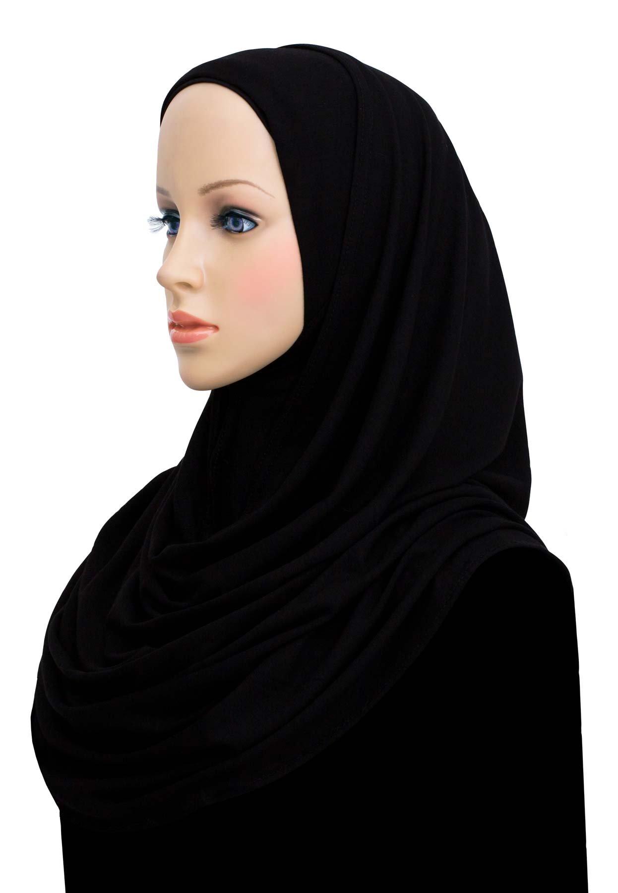 Womens Hijab Plain Instant Cotton Jersey Lightweight Headscarf (Black)