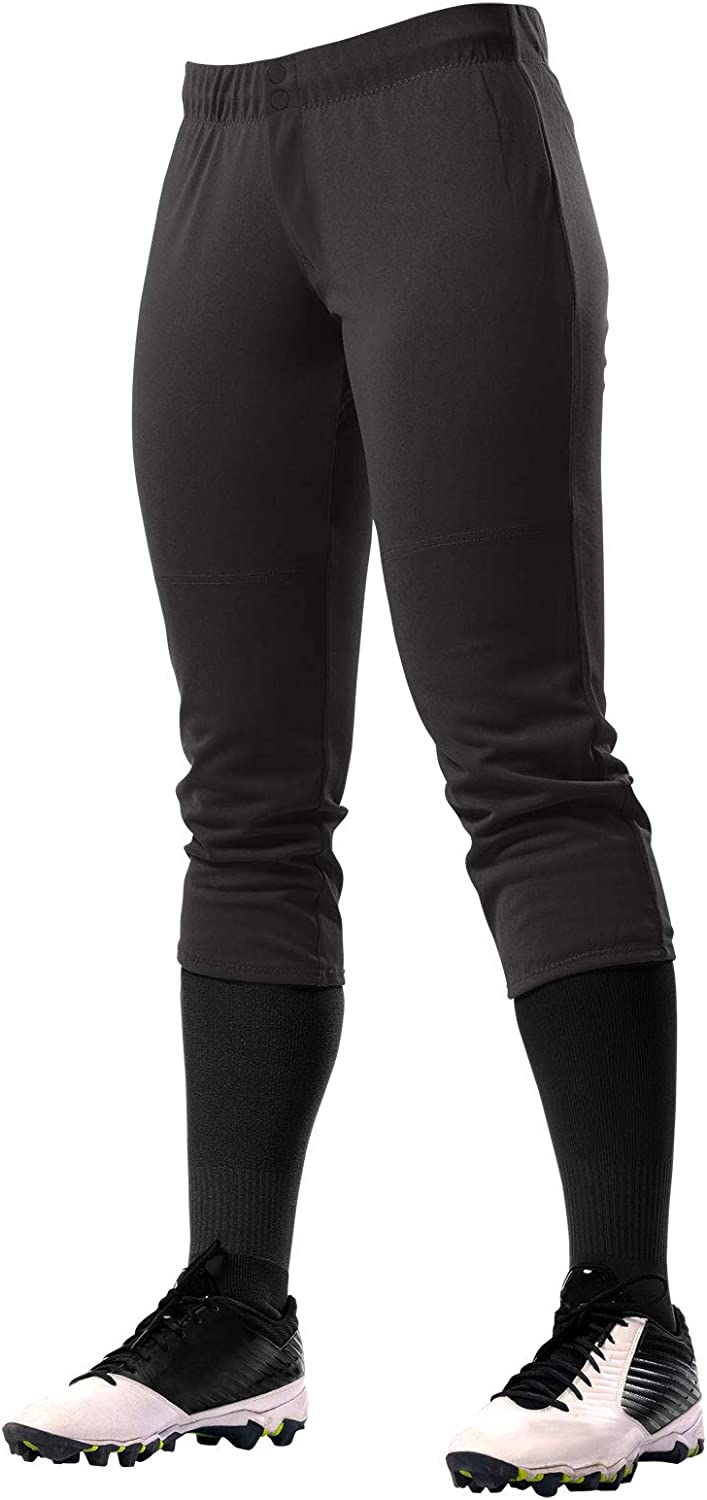 CHAMPRO Fireball Low-Rise Knicker-Style Fastpitch Softball Pants in Solid Color with Reinforced Knees, Black (BP39GBM)