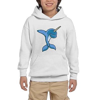 ROSSERJR Pullover Funny Dabbing Narwhal Boys,Girls,Youth Trendy Sweatshirt Pocket Hoodie White