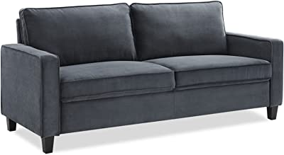 Comfortable Cozy Living Room Bed Room Love Seat Sofa with Reliable and Sturdy Hardwood Frame Poly-Fiber Filled Cushions Luxurious Microfiber Upholstery Contemporary Straight Arms Fixed Back and Seat