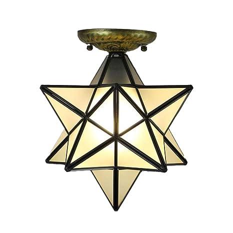 Siminda Glass Moravian Star Ceiling Chandelier Lamp Flush
