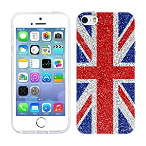 Head Case Designs Red and Blue Glitter Union Jack Collection Soft Gel Back Case Cover for Apple iPhone 5 5s