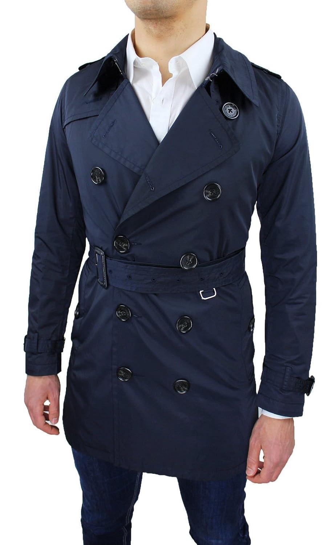 Giubbotto trench uomo blu slim fit casual elegante nuovo giacca soprabito