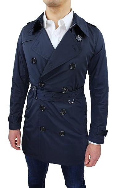 Chaqueta gabardina para hombre. Azul, ajustada, casual y elegante. Chaqueta, abrigo. azul oscuro Small : Amazon.es: Ropa y accesorios