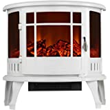 3G Plus Electric Fireplace Heater Free Standing Log Fuel Effect Adjustable Flame Brightness—White