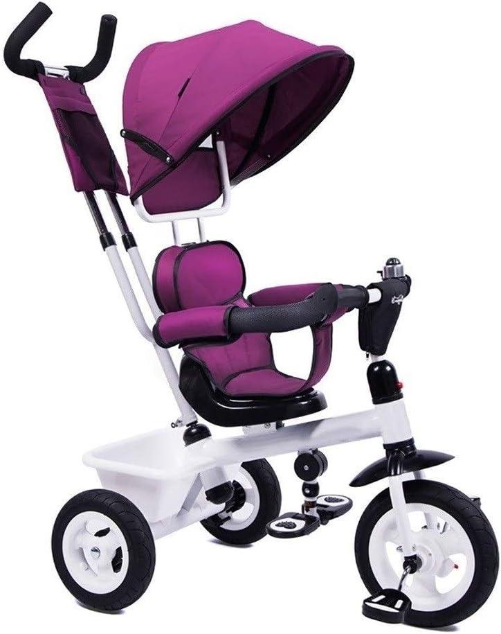 xy Triciclos Triciclo Cochecito de Tres Ruedas con el niño Bicicleta de Empuje Mango niño con Marco de Acero Retro Cochecito Convertible Triciclo Adaptado for niños de 1-3-5, púrpura