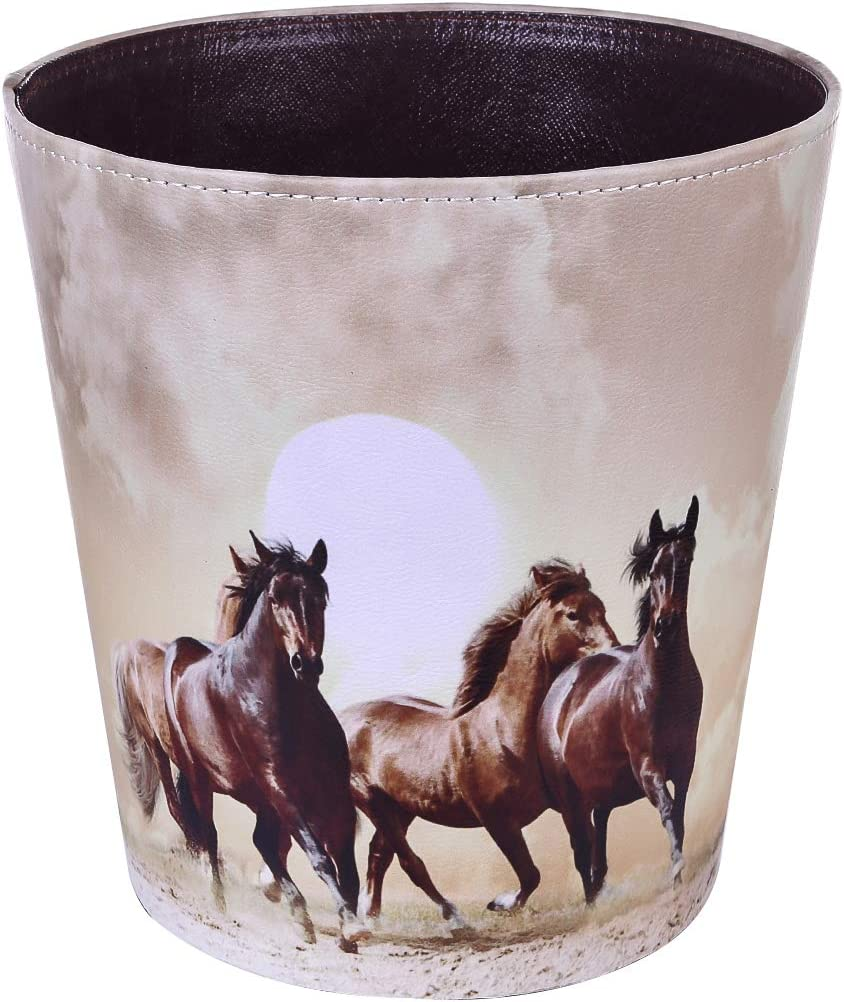 HMANE 10L/2.64 Gallon PU Leather Trash Can Waterproof Decorative Paper Basket for Bedroom Bathroom - (Horse Pattern A)