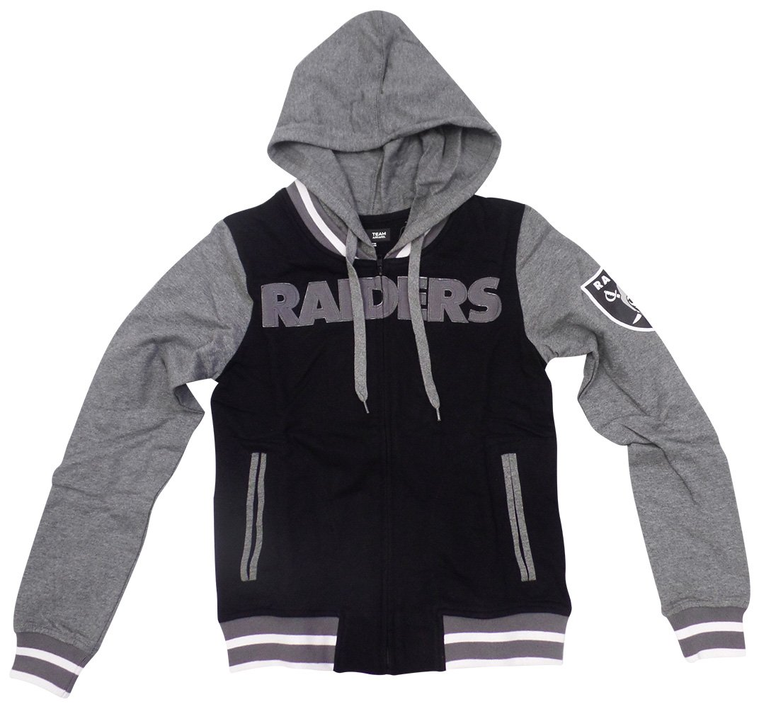 on sale 8ce93 6c450 5th & Ocean Oakland Raiders Women's French Terry Contrast Sleeves Zip Up  Hoodie