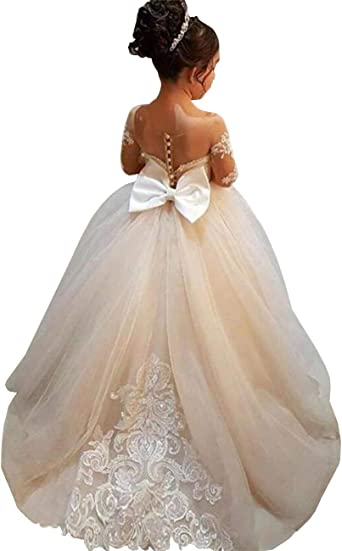 White Princess Flower Girl Dress Long Sleeve With Train Pageant Party Ball Gowns