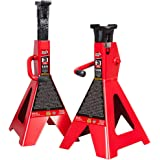 BIG RED T43006 Torin Steel Jack Stands (Fits: SUVs and Extended Height Trucks): 3 Ton (6,000 lb) Capacity, Red, 1 Pair