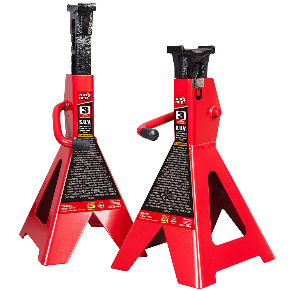 Torin Big Red Steel Jack Stands: SUV / Extended Height, 3 Ton Capacity, 1 Pair