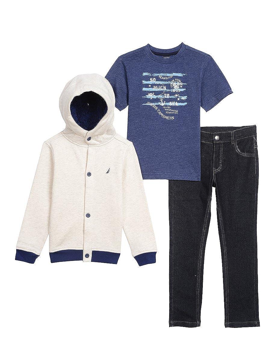 Nautica Boys Fleece Button up Hoodie, Tee and Denim Pant Set N430G41Q