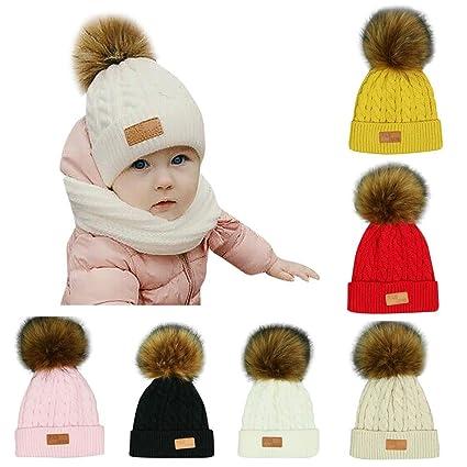 669148076c7 Sinwo Toddler Kids Girl Boy Baby Cute Winter Warm Crochet Knit Hat Beanie  Cap (Beige