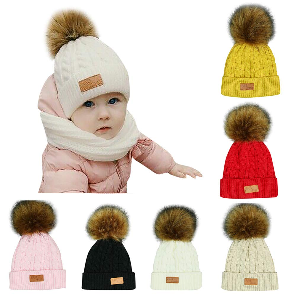 Sinwo Toddler Kids Girl Boy Baby Cute Winter Warm Crochet Knit Hat Beanie Cap (Pink)