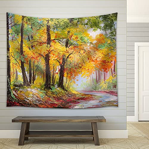wall26 – Oil Painting Landscape – Colorful Autumn Forest – Fabric Wall Tapestry Home Decor – 51×60 inches