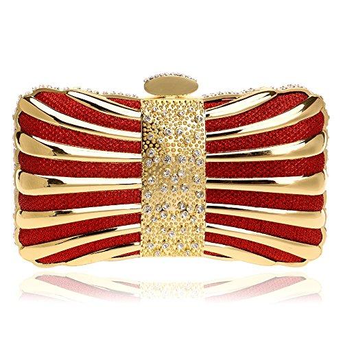 Tutu Cristal Soirée Sacs Pochette De Couleur Mixte Femmes Élégantes Cravate Diamants, Or Rouge