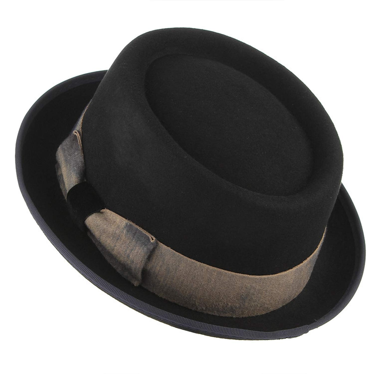 Men Vintage Bowknot Wool Fedora Top Hats Steampunk Hat Men Church Jazz Caps Warm Winter Hats